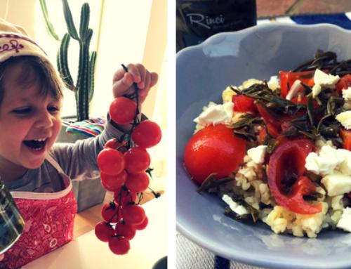 Ricetta pic-nic: farro al pesto di spaccasassi Rinci con feta e pomodorini